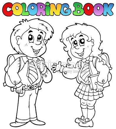 Libro Para Colorear Con Dos Estudiantes Arte vectorial | Thinkstock