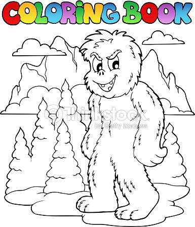 Coloring Book With Yeti 1 Vector Art