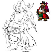 Coloring cartoon pirate with rum and parrot. Coloring book for kids.