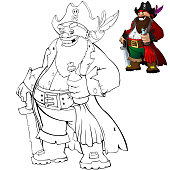 Coloring cartoon pirate with rum. Coloring book for kids.