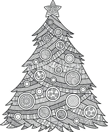 Coloring For Adults Christmas Tree Vector Art   Thinkstock