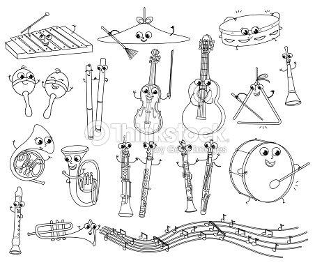 Vector De Divertidos Instrumentos Musicales Para Colorear Para Niños ...