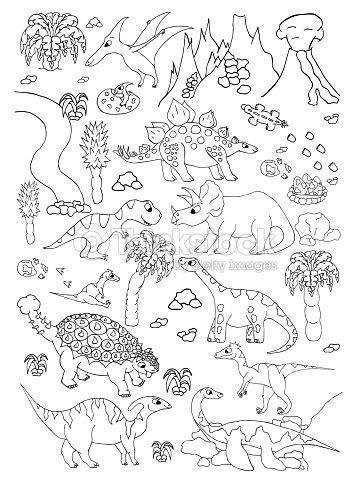 Página Dibujada Mano Con Dinosaurios Lindo Vector Para Colorear Arte ...