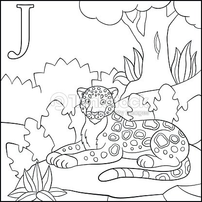 Página Para Colorear Alfabeto De Animales De Dibujos Animados J Es ...