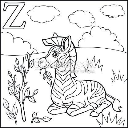 Página Para Colorear Alfabeto De Animales De Dibujos Animados Z Es ...