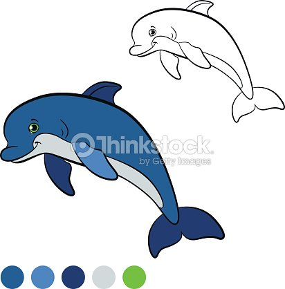 Coloring Page Color Me Dolphin Little Cute Jumps