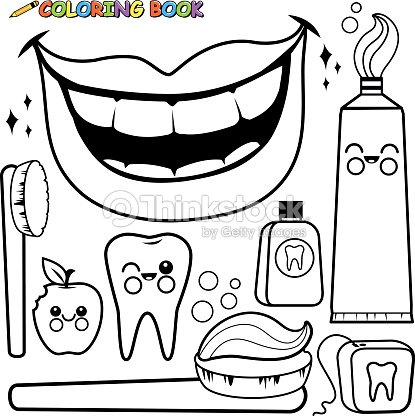 Página Para Colorear De Higiene Dental Vector Set Arte vectorial ...