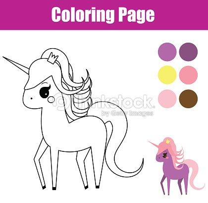 Coloriage De Licorne Et De Fee.Coloriage Jeu Educatif Enfants Licorne Poney De Fee Dessin Enfants