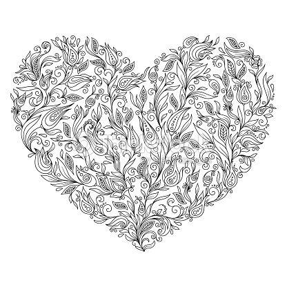 Página Para Colorear De Flor Corazón St Día De San Valentín Tarjeta ...