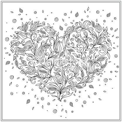 Página Para Colorear De Flor Corazón St Día De San Valentín Arte ...