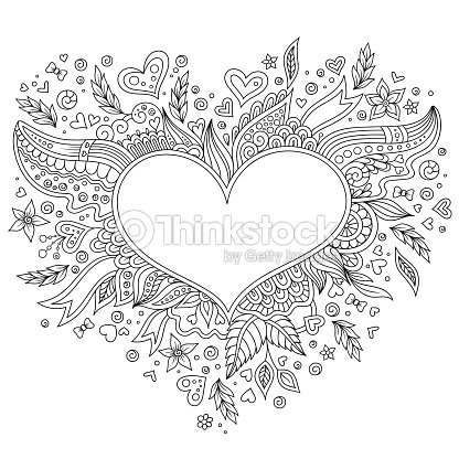 Coloring Page Flower Heart St Valentines Day Vector Art