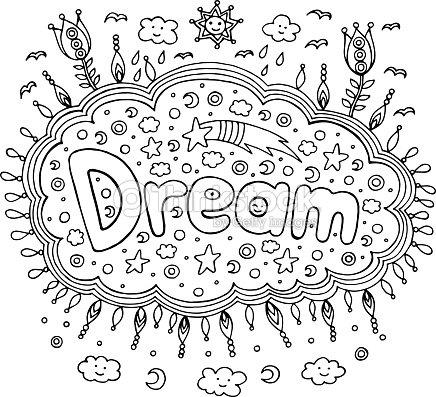 Página Para Colorear Para Adultos Con Palabra Mandala Y Sueño Doodle ...