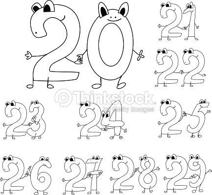 Cijfer 40 Kleurplaat Coloring Page Funny Numbers Stock Vector Thinkstock