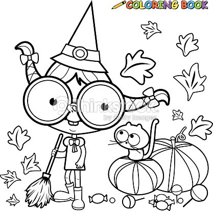 Coloring Page Halloween Witch Sweeping Pumpkin Leaves Vector Art