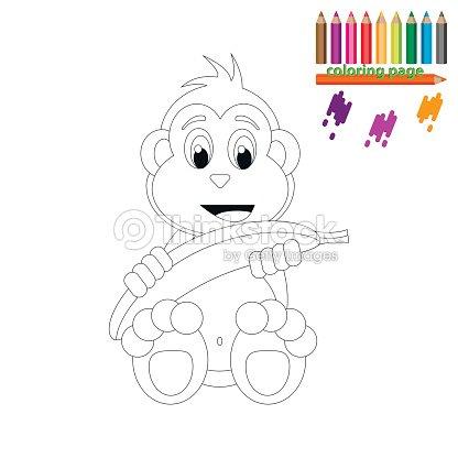 Colorear Página Feliz Monos Con Plátano Arte vectorial | Thinkstock