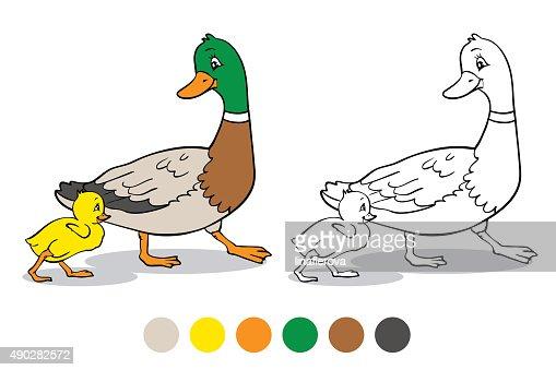 Libro Para Colorear Madre Hija Ilustraciones Vectoriales Clip: Coloring Page Mother Duck And Duckling Vector Art