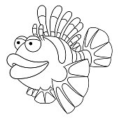 Coloring Page Of Cartoon Lionfish Vector Art