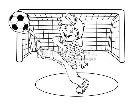 Pagina Da Colorare Sagoma Di Un Ragazzo Di Tiro Un Pallone Da Calcio