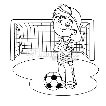 Coloring Page Outline Of A Boy With A Soccer Ball Vector Art ...