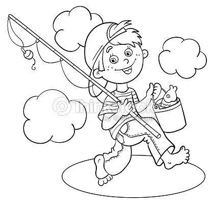 Coloring Page Outline Of A Cartoon Boy Fisherman Vector Art