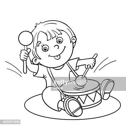 Coloring Page Outline Of A Cartoon Boy Playing The Drum Vector Art