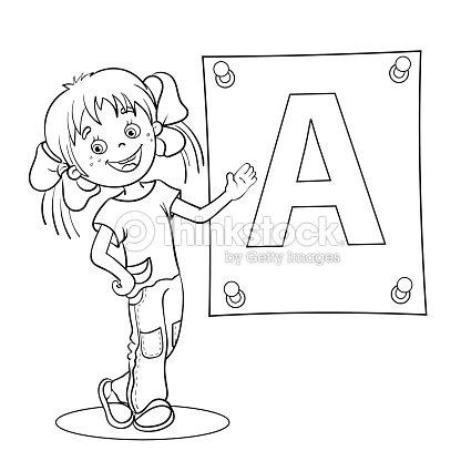 Página Para Colorear De Contorno De Dibujos Animados Chica Con Letra ...