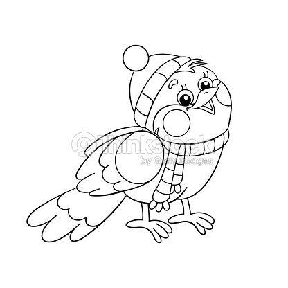 Coloring Page Outline Of A Funny Bird In Winter Vector Art