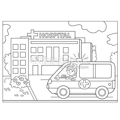 Esboço De Página Colorida Ambulância Carro Junto Do Hospital Arte ...