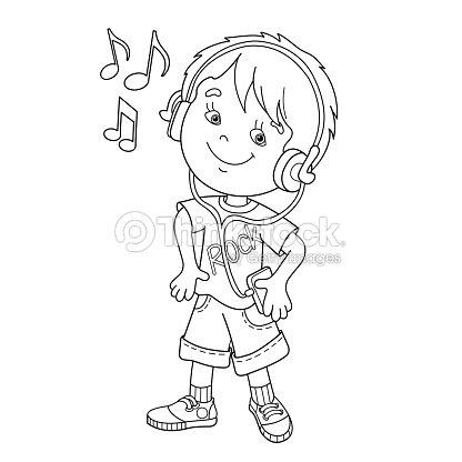 Página Para Colorear Con Contorno De Niño En Auriculares Escuchando ...