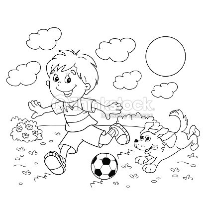 Página Para Colorear Con Contorno De Niño Con Balón De Fútbol Con ...