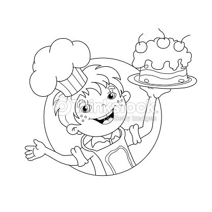 Coloring Page Outline Of Cartoon Boy Chef With Cake stock