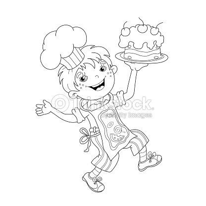 Farbung Seite Konturen Von Comic Junge Kuchenchef Mit Kuchen