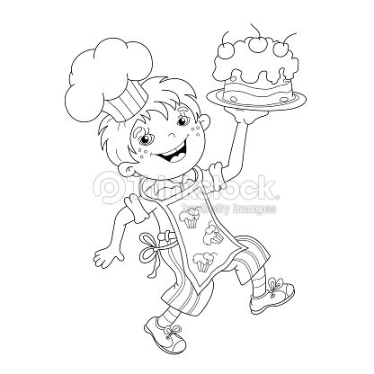 Para Colorear Página Resumen Del Niño De Historieta Chef Con Pasta ...