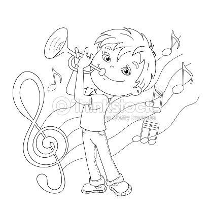 Página Para Colorear De Contorno De Dibujos Animados Niño Jugando La ...