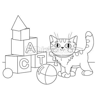 Página Para Colorear De Contorno De Dibujos Animados Gato Jugando ...