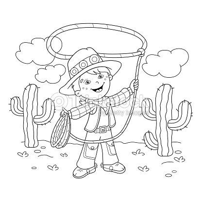 Página Para Colorear Con Contorno De Dibujos Animados Con Lazo De ...