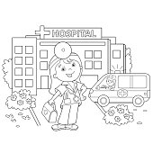 Coloring Page Outline Of cartoon doctor with ambulance car near the hospital. Profession. Medicine. Coloring book for kids