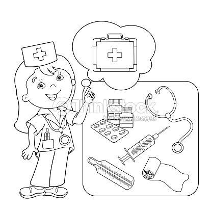 Página Para Colorear Con Contorno De Dibujos Animados Médico Con Kit ...