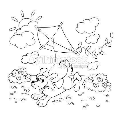 Página Para Colorear Con Contorno De Dibujos Animados De Perro Con ...