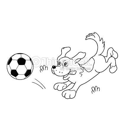 Página Para Colorear Con Contorno De Perro De Historieta Con Balón ...