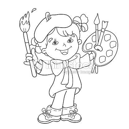 Página Para Colorear Con Contorno De Dibujos Animados Chica Con ...