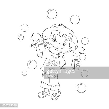Coloring Page Outline Cartoon Girl Blowing Soap Bubbles
