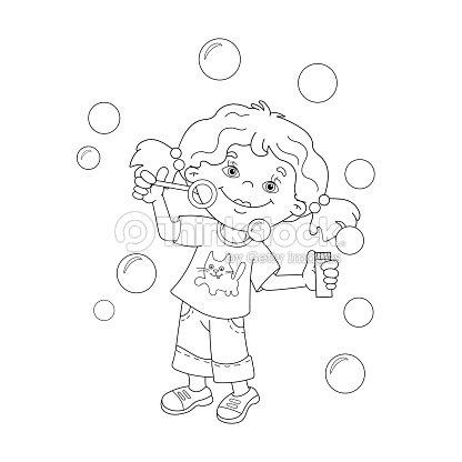 Página Para Colorear De Contorno De Dibujos Animados Chica Soplar ...