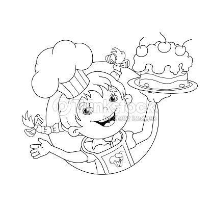 Página Para Colorear De Contorno De Dibujos Animados Con Pastel ...