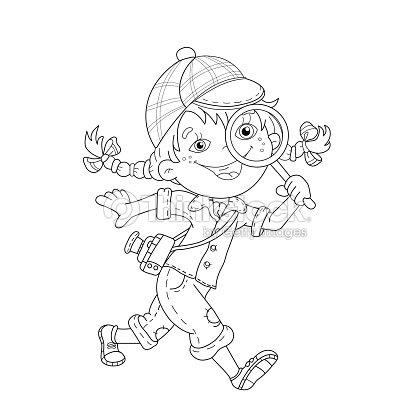 Página Para Colorear De Contorno De Dibujos Animados Detective De La ...