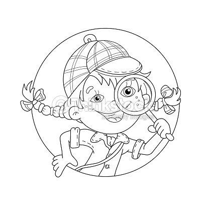 Coloriage Dessin Anime Fille.Page Contour De Coloriage De Dessin Anime Fille Detective Avec Loupe