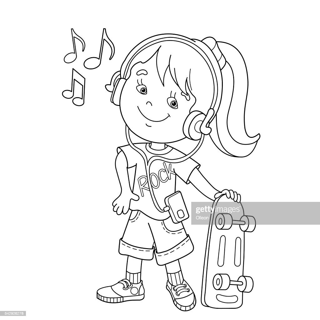 Coloring Page Outline Of Cartoon Girl In Headphones With Skateboard ...