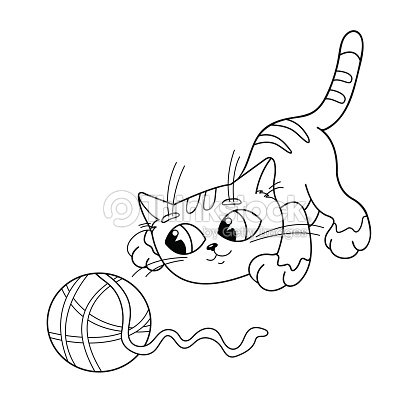 Página Para Colorear Resumen De Gato Jugando Con Bola De Fibra Arte ...