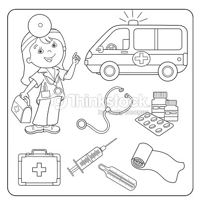 Coloring Page Outline Of Doctor Set Of Medical Instruments