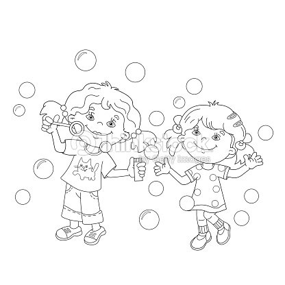 coloring page outline of girls blowing soap bubbles together vector art